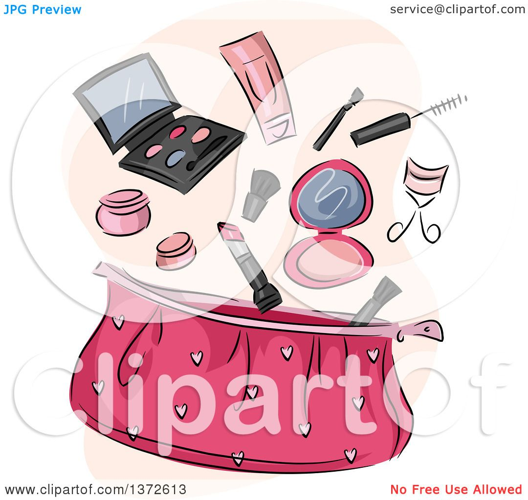Clipart of a Pink Cosmetic Bag with Makeup - Royalty Free Vector ...