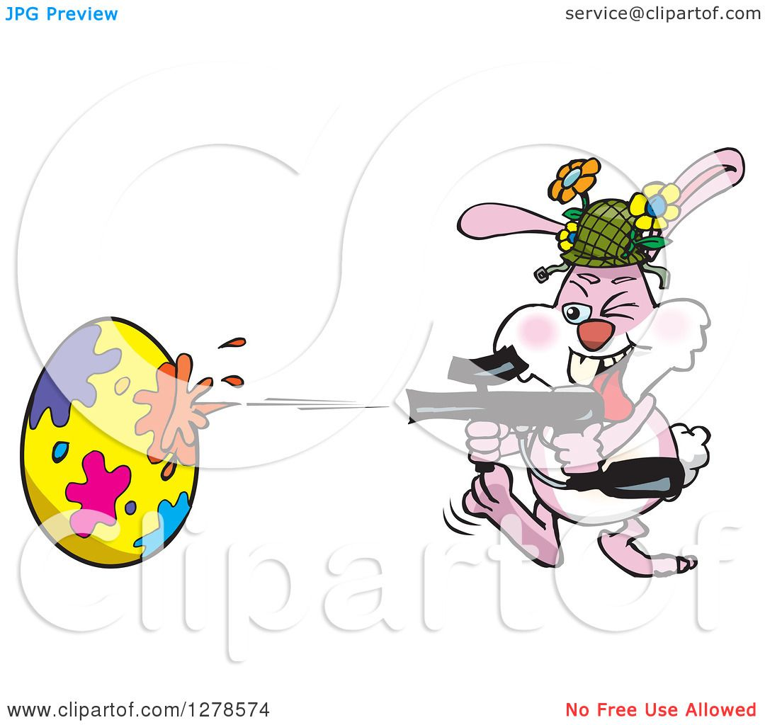 clipart of a pink easter bunny using a paintball gun to decorate an egg royalty free vector illustration by dennis holmes designs