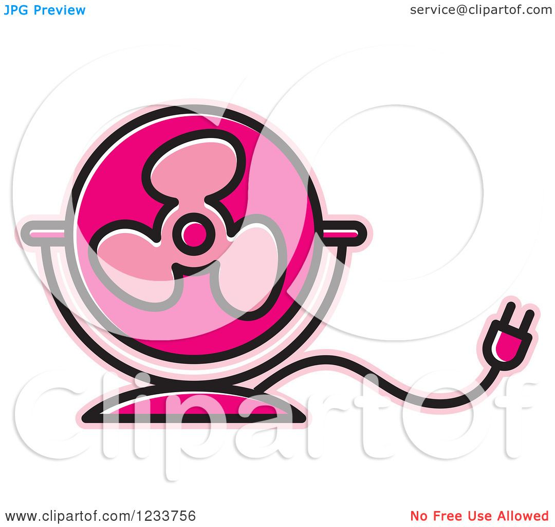 Pink Electric Fan : Clipart of a pink electric fan royalty free vector