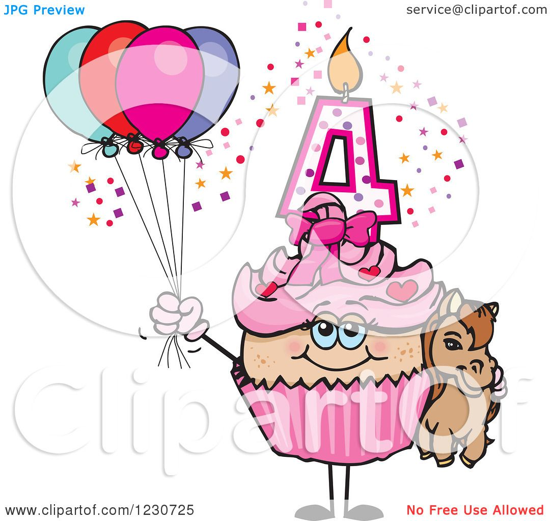 Clipart Of A Pink Girls Fourth Birthday Cupcake With A