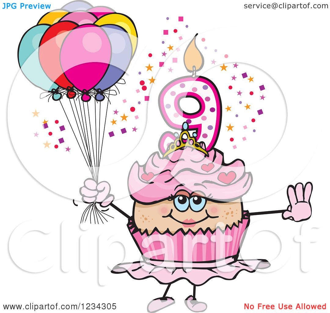 Clipart of a Pink Girls Ninth Birthday