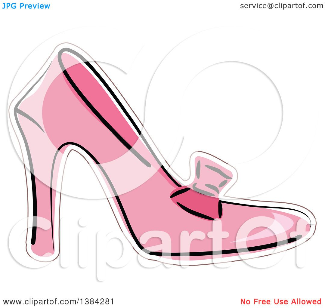 b9758b6d1cd0f Clipart of a Pink High Heel Shoe with a Bow - Royalty Free Vector ...