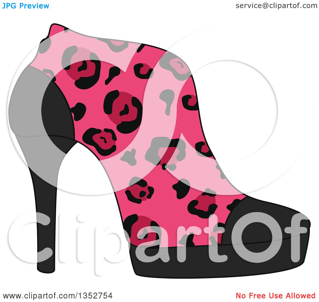 9fca30d9406 Clipart of a Pink Leopard Print High Heel Shoe - Royalty Free Vector ...