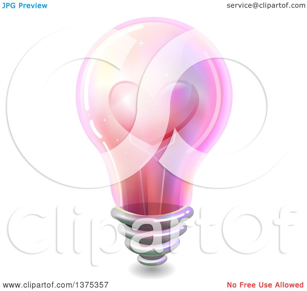 Clipart of a Pink Light Bulb with a Love Heart on the ...