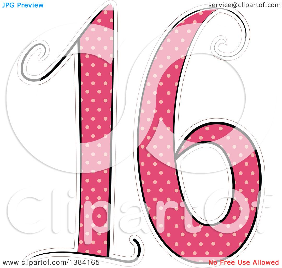 Clipart of a Pink Number 16 Made of Polka Dots for a Sweet ...