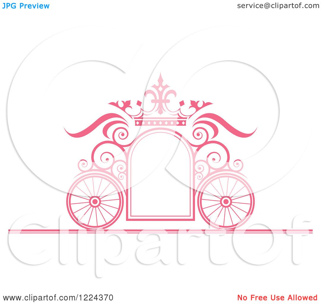 clipart of a pink ornate wedding carriage and crown frame royalty free vector illustration by lal perera