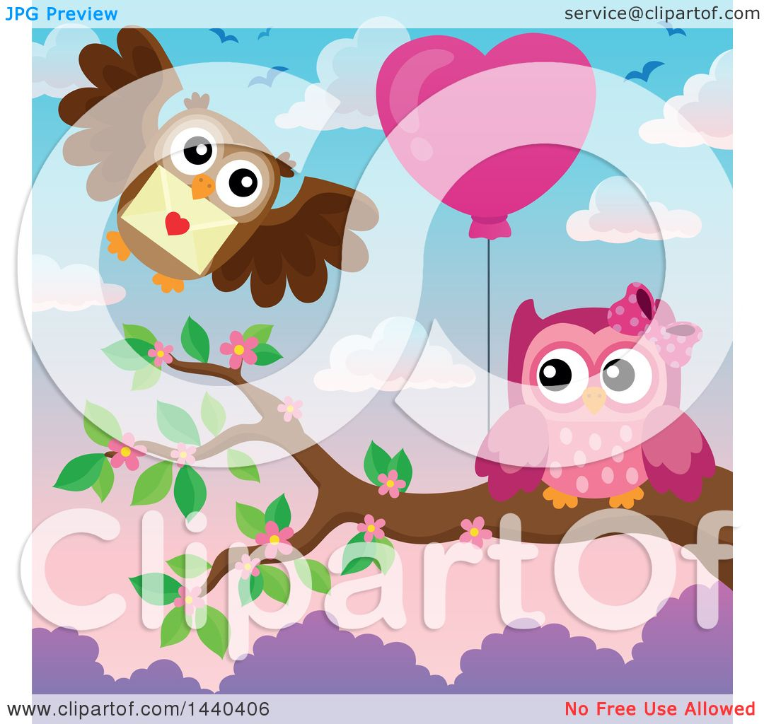 Clipart of a Pink Owl Holding a Heart Balloon and a Brown ...