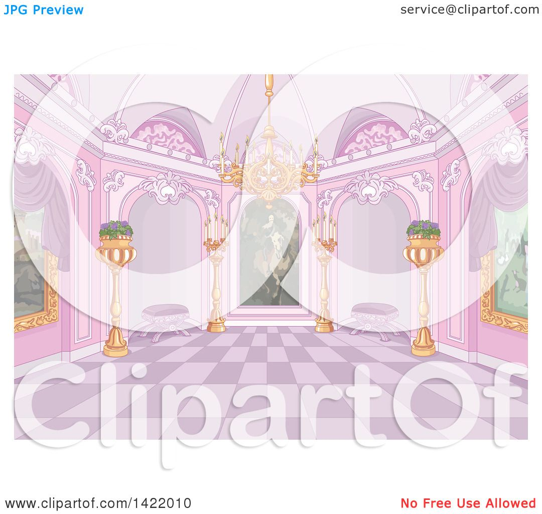 Clipart of a pink palace interior with plants candles a chandelier clipart of a pink palace interior with plants candles a chandelier and paintings royalty free vector illustration by pushkin arubaitofo Gallery