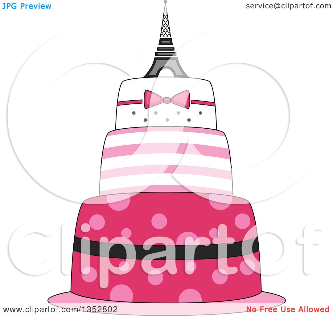 Clipart Of A Pink Parisian Cake With An Eiffel Tower Topper