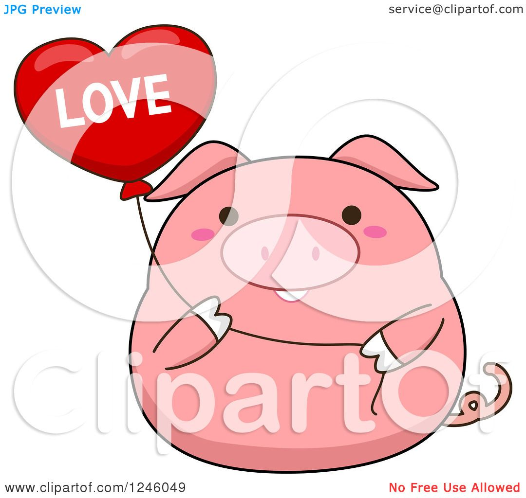 Clipart Of A Pink Pig Holding Love Heart Balloon