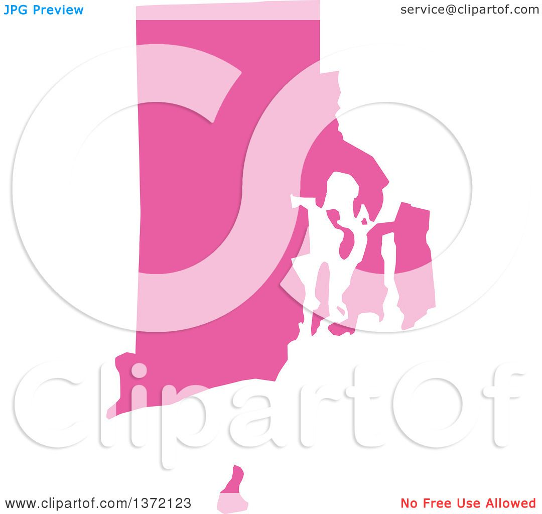 Clipart Of A Pink Silhouetted Map Shape Of The State Of Rhode - Free united states map graphic