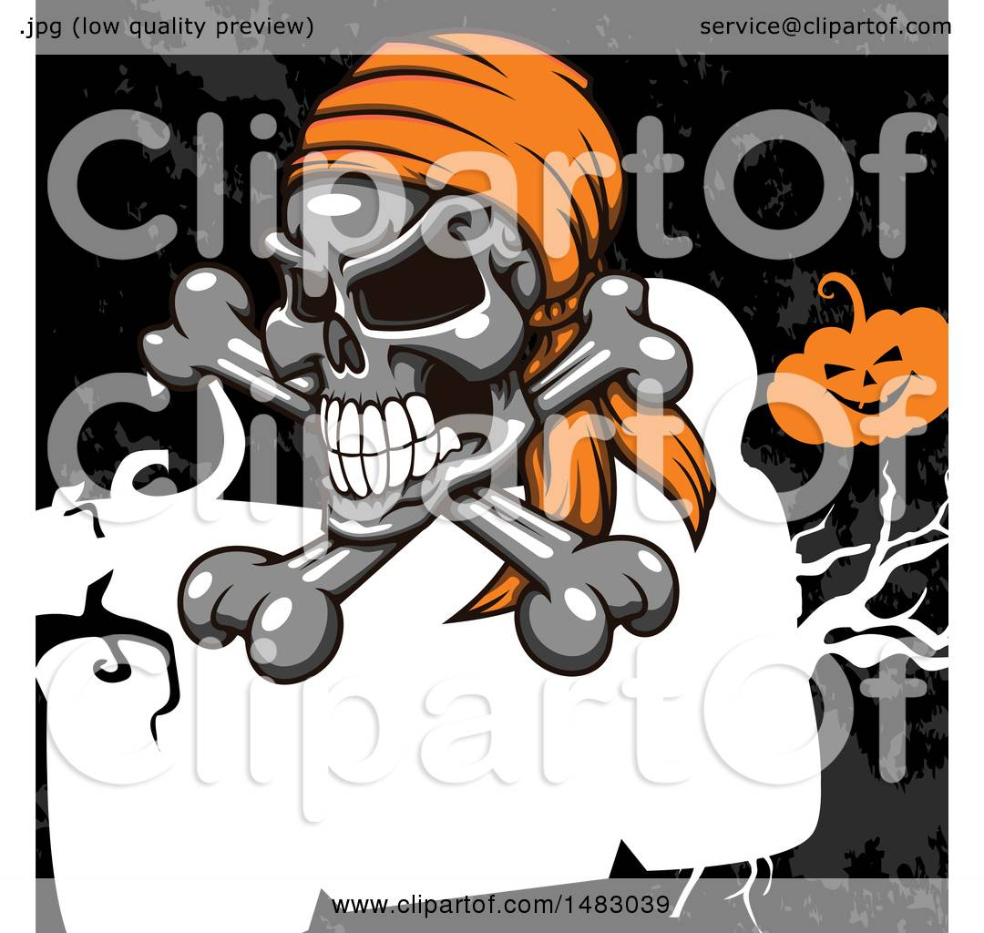 Clipart Of A Pirate Skull And Crossbones Over A Frame And Grunge With A  Jackolantern   Royalty Free Vector Illustration By Vector Tradition SM