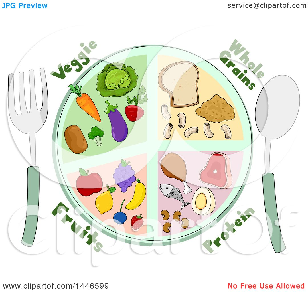 Clipart of a Plate of Whole Grains, Protein, Fruits and ...