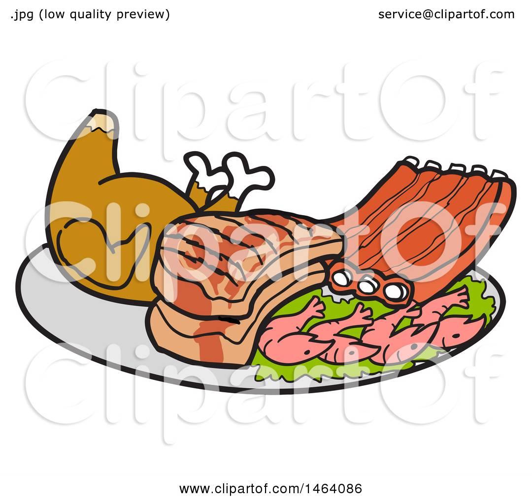 Clipart of a Platter of Roasted Chicken, Pork Chops, Ribs and Shrimp ... for Pork Chop Clipart  67qdu