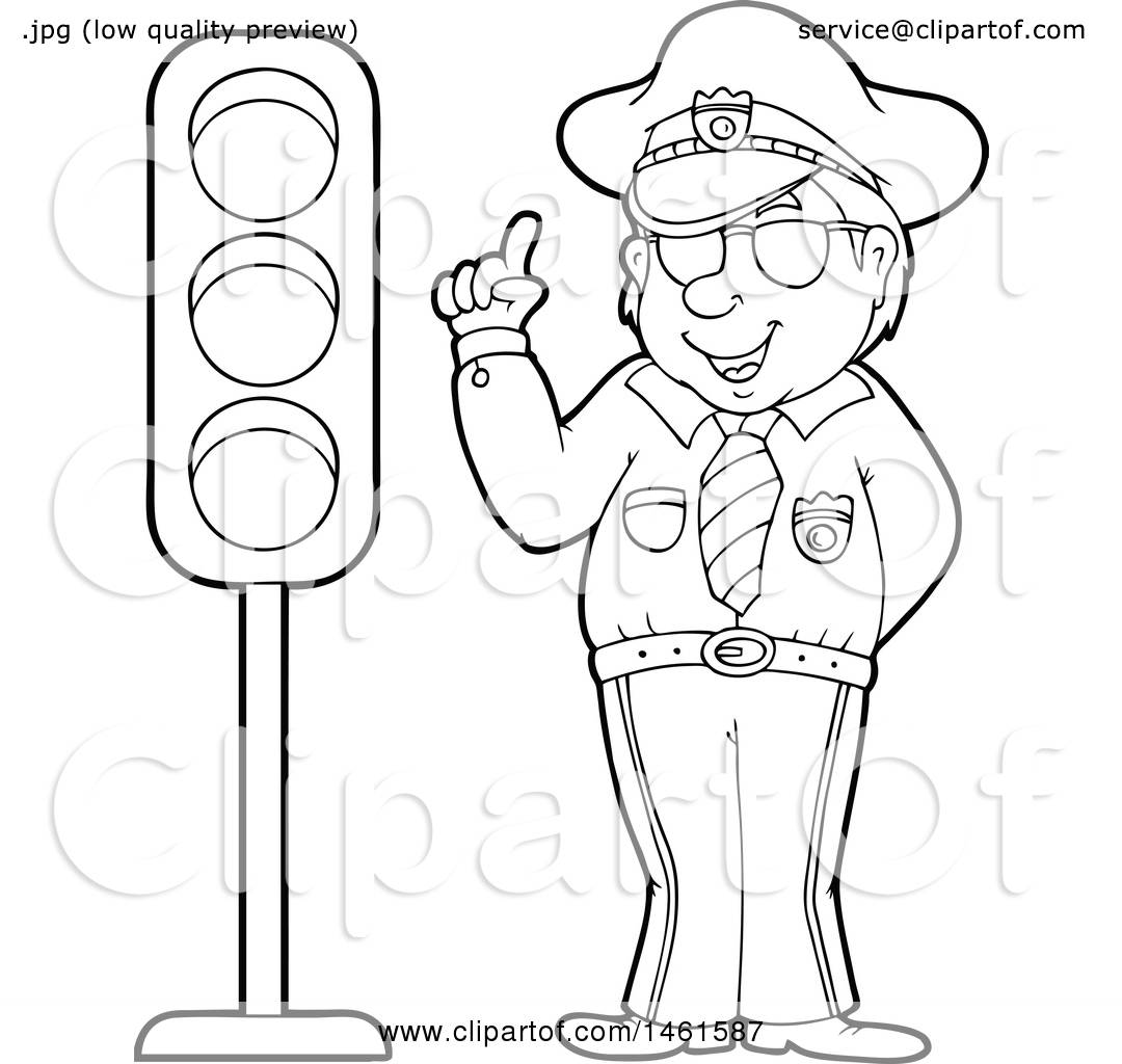 clipart of a police officer by a traffic light - royalty free vector