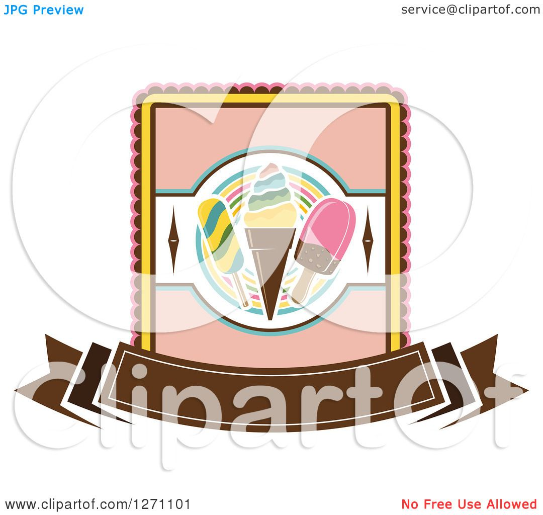 Clipart of a Popsicle and Ice Cream Cone Design with a ...
