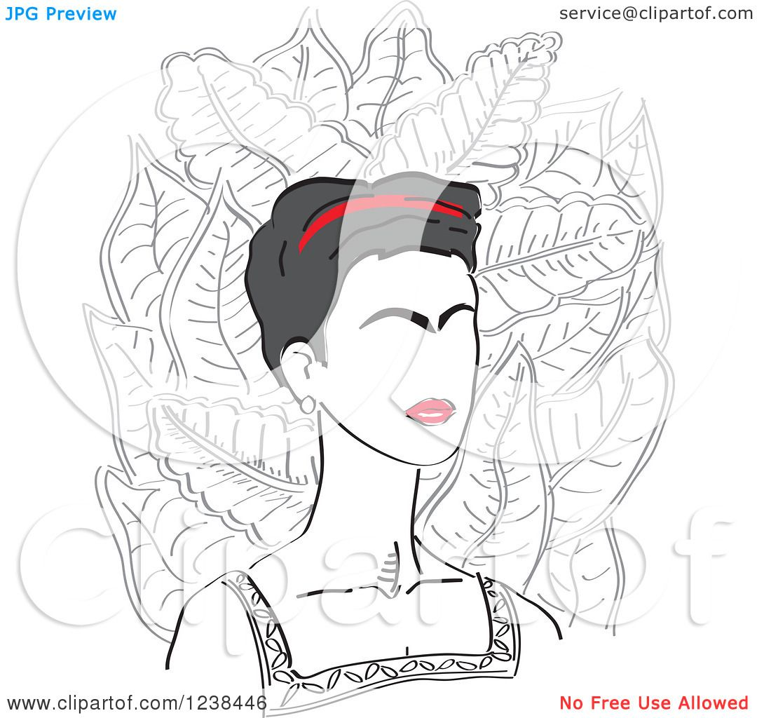 Clipart Of A Portrait Of Frida Kahlo Over Leaves Royalty