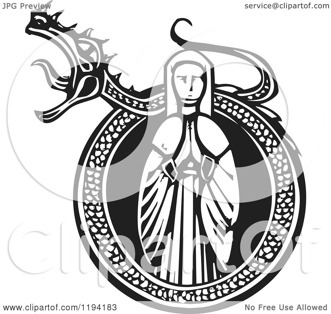 clipart of a praying maiden in a roaring dragon frame black and white woodcut royalty free vector illustration by xunantunich - Dragon Frame