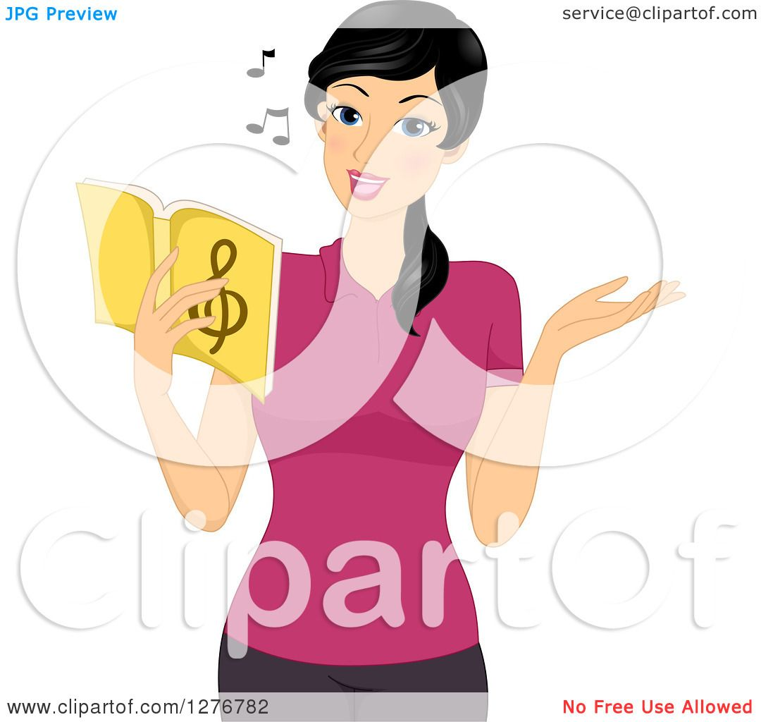 Clipart Of A Pretty Asian Music Teacher Singing From A -9241