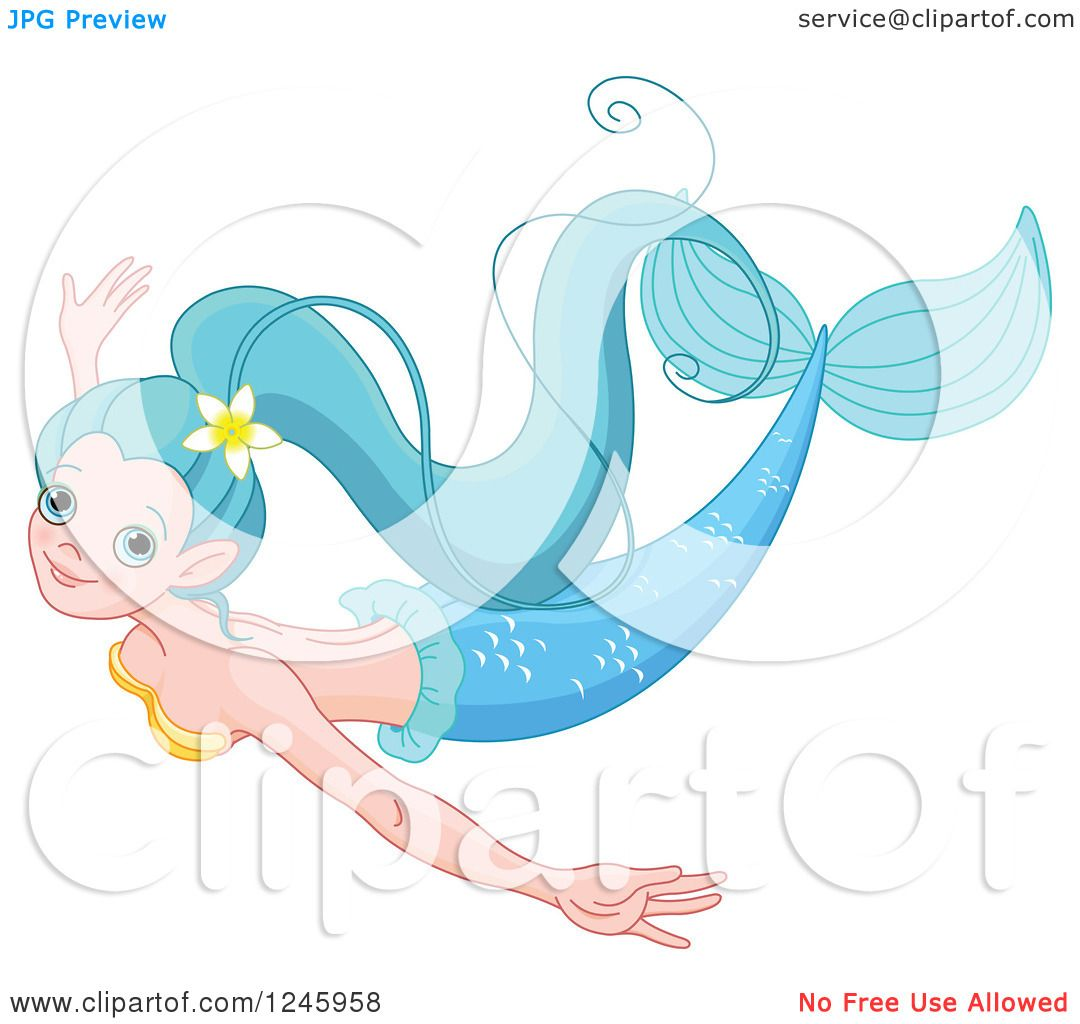 clipart of a pretty blue mermaid swimming royalty free vector