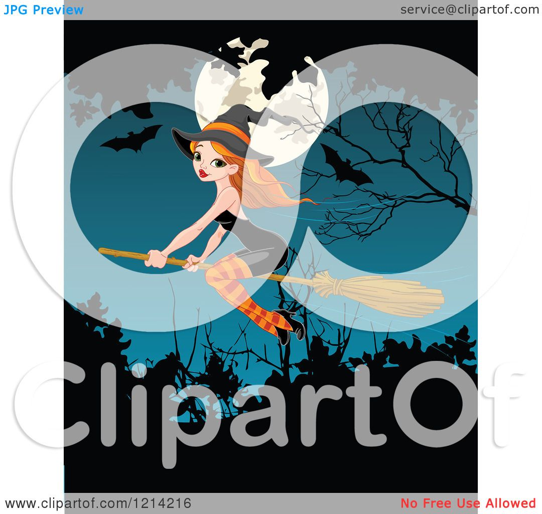 Clipart Of A Pretty Red Head Witch Flying Over A Full Moon