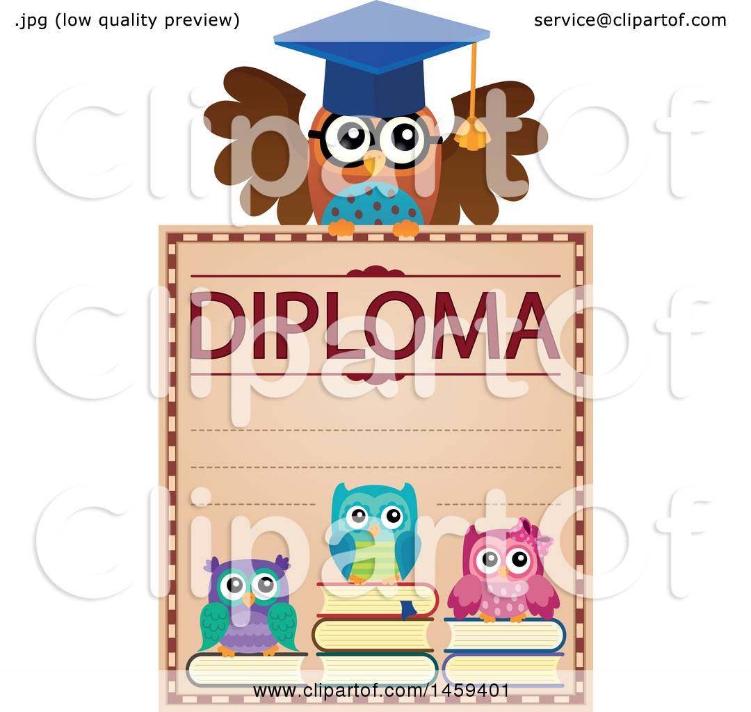 Clipart of a Professor Owl and Students School Diploma ...