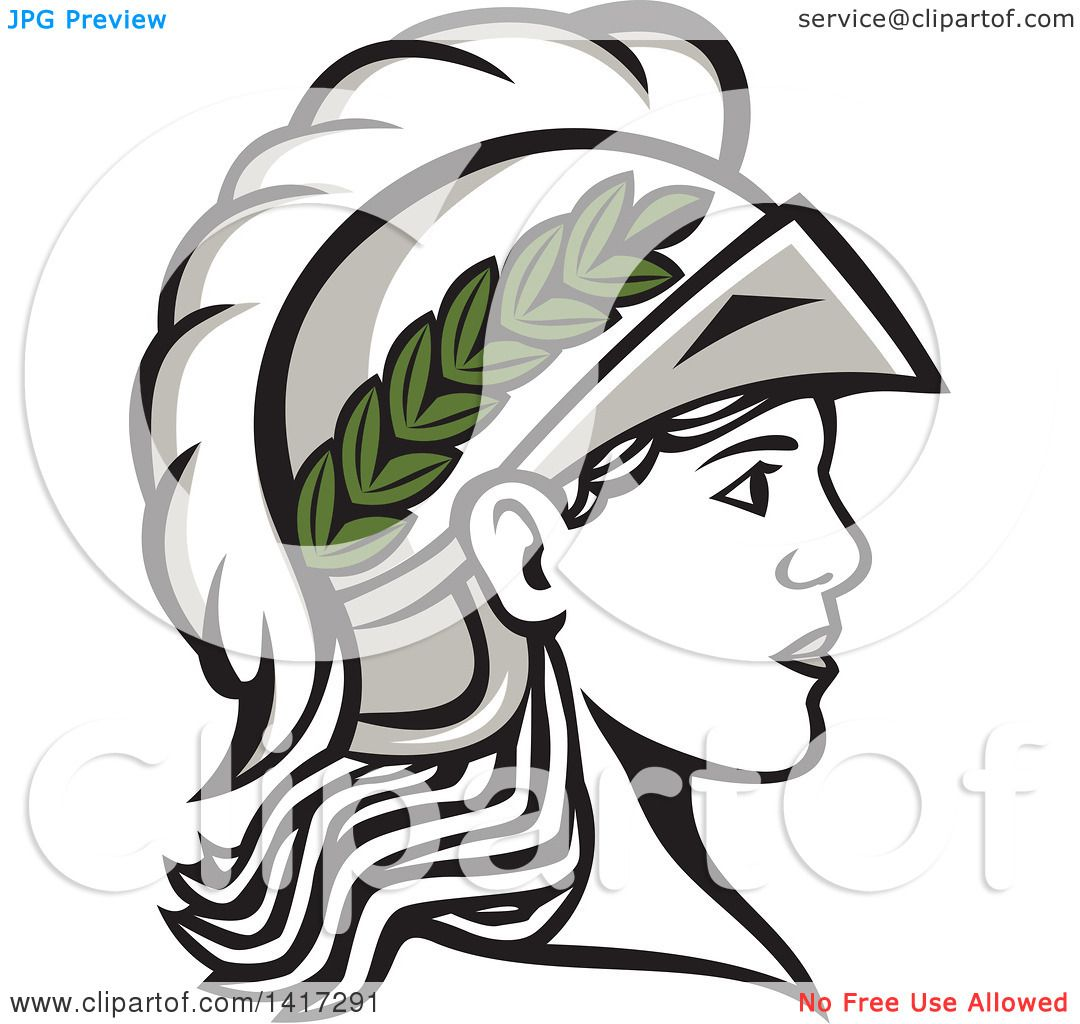 Clipart of a Profile Portrait of the Roman Goddess of