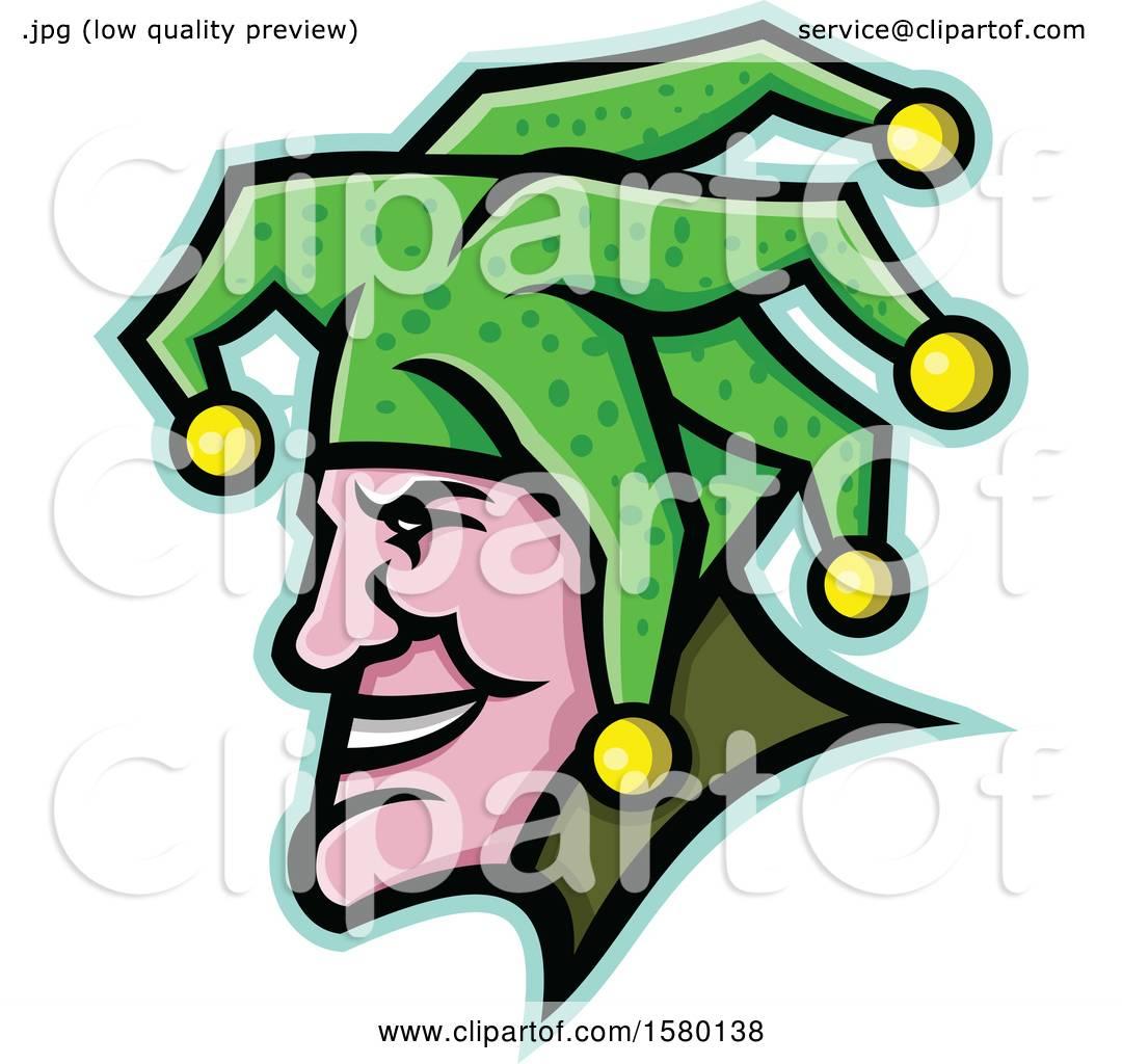 da6dfa0257 Clipart of a Profiled Harlequin Jester Mascot Face - Royalty Free Vector  Illustration by patrimonio