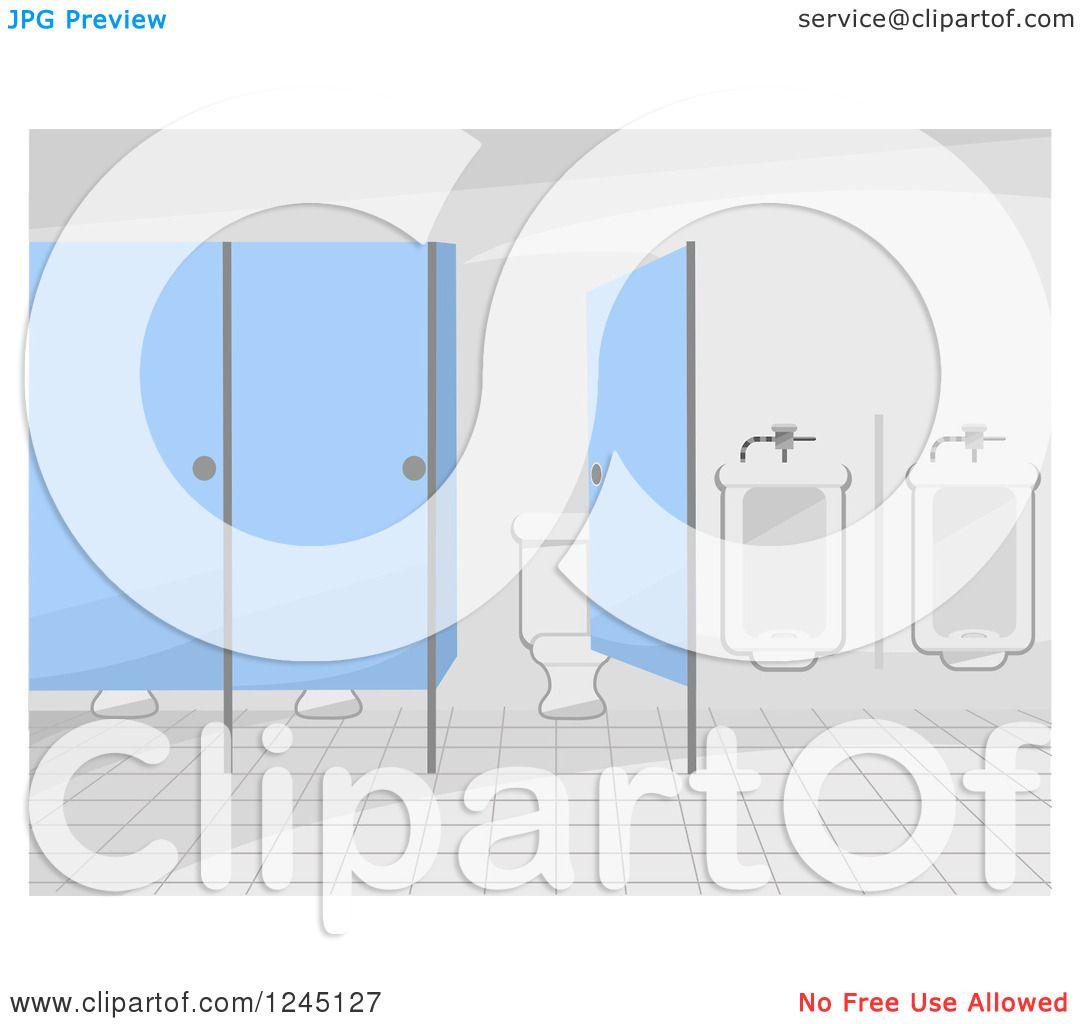 Royalty Free Public Restroom Mirror Clip Art Vector: Clipart Of A Public Restroom Interior With Blue Doors And