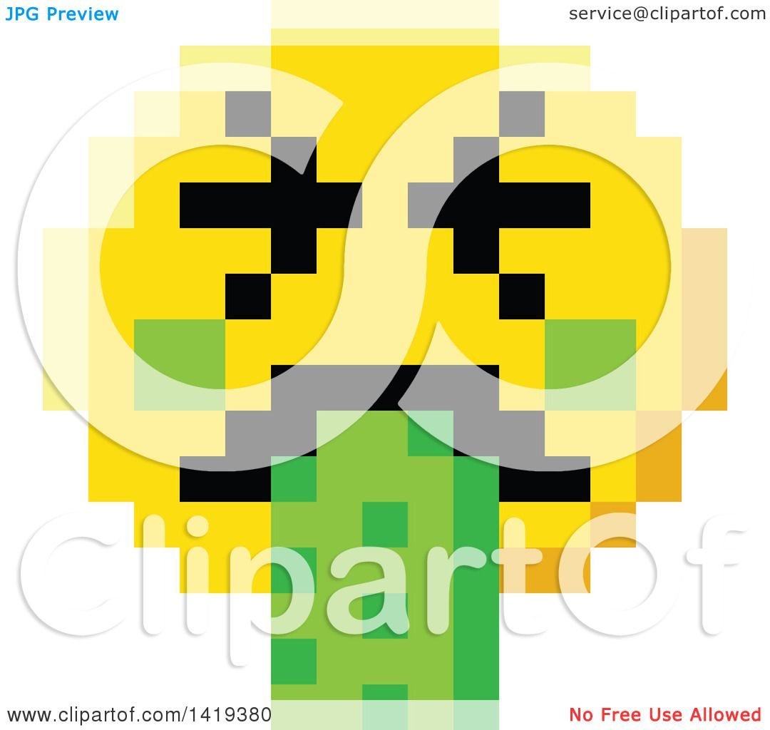 Clipart of a puking 8 bit video game style emoji smiley face royalty free vector illustration