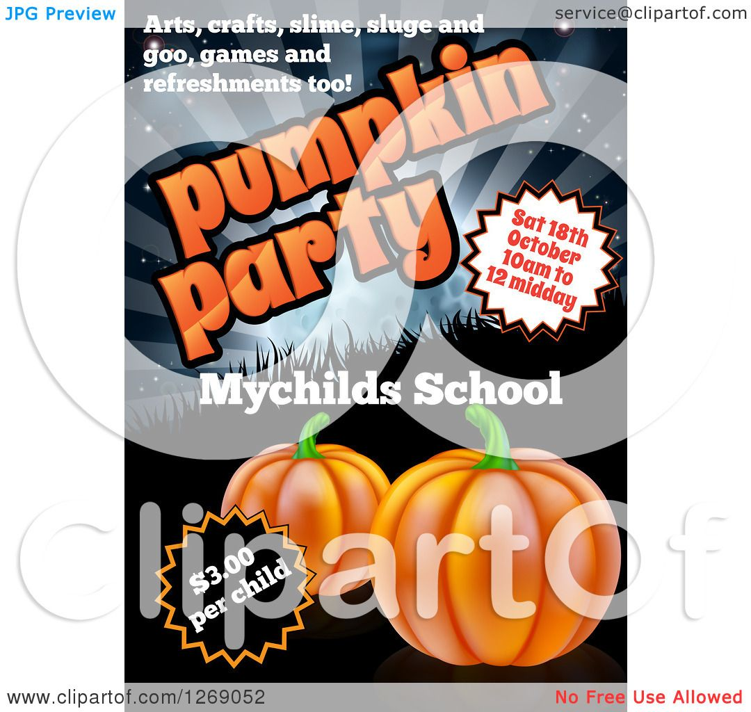 Clipart of a Pumpkin Halloween Party Invitation Design for a ...