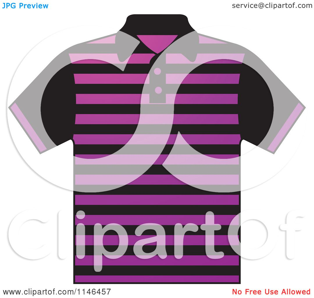 0e835e2b7 Clipart of a Purple and Black Striped Mens Polo Shirt - Royalty Free Vector  Illustration by Lal Perera