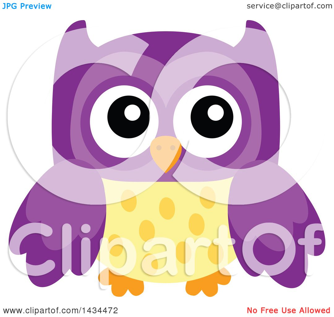 Clipart of a Purple and Yellow Owl - Royalty Free Vector ...
