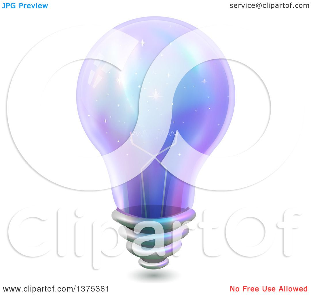Clipart of a Purple Light Bulb