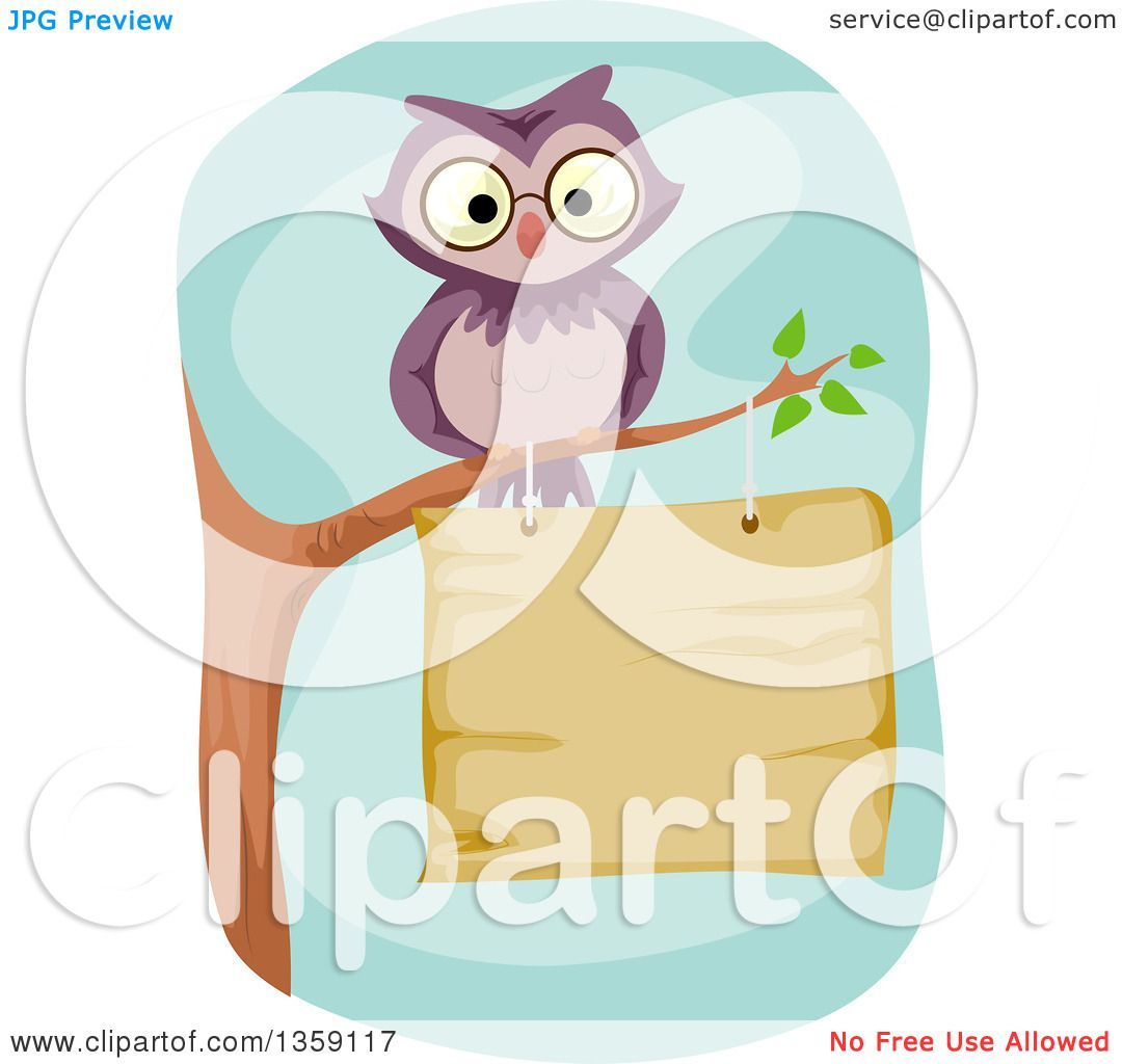 Clipart of a Purple Owl Perched on a Branch over a Wood ...