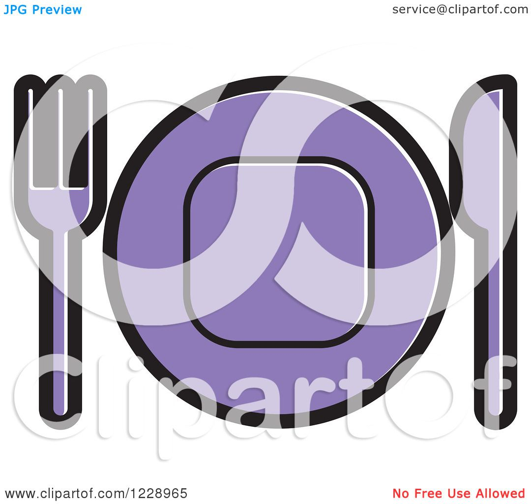 Clipart of a Purple Plate and Silverware Place Setting Icon ...