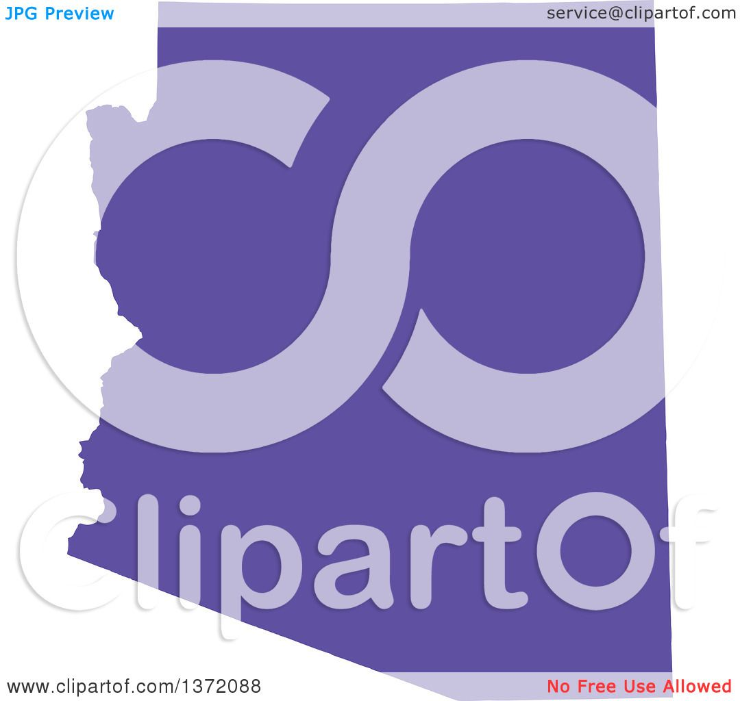 Clipart Of A Purple Silhouetted Map Shape Of The State Of Arizona - Free united states map graphic