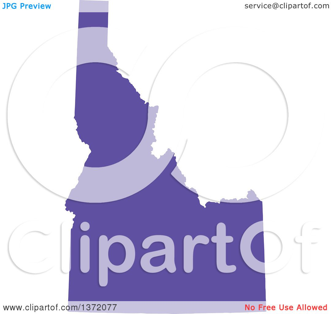 clipart of a purple silhouetted map shape of the state of idaho united states royalty free vector ilration by jamers