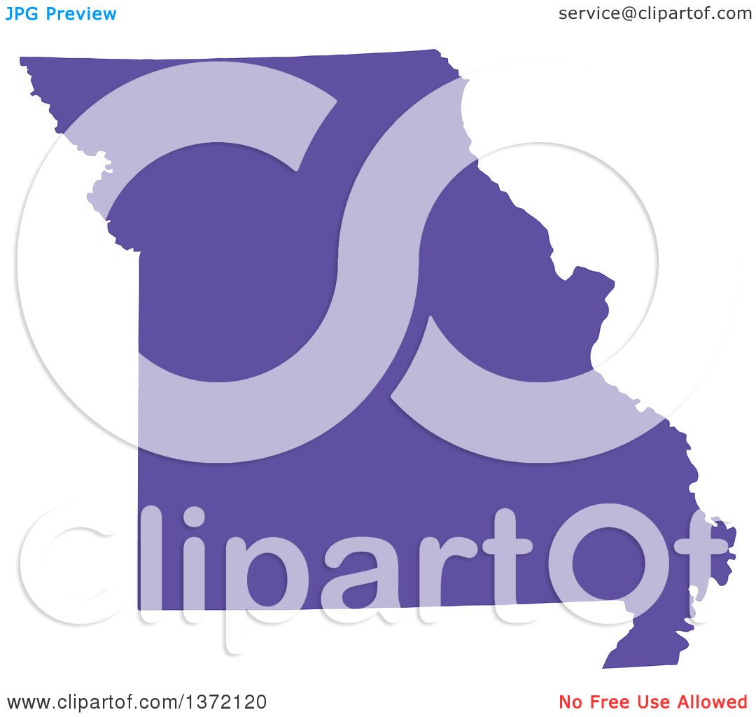 Clipart Of A Purple Silhouetted Map Shape Of The State Of Missouri - Free united states map graphic