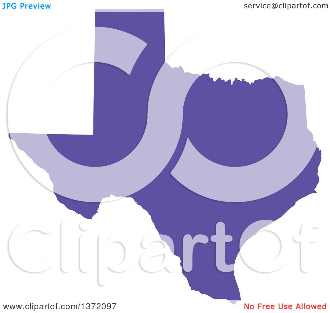 clipart of a purple silhouetted map shape of the state of texas united states royalty free vector ilration by jamers