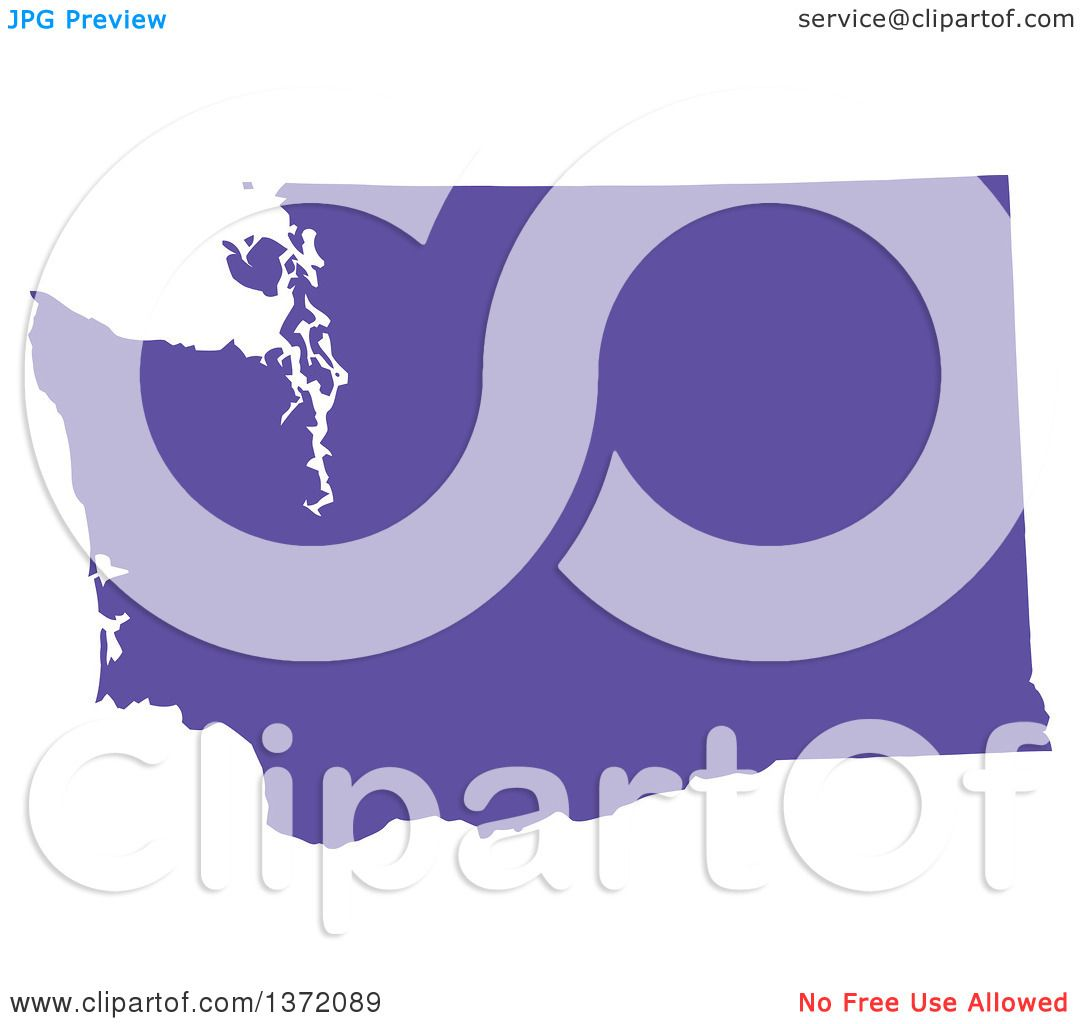 clipart of a purple silhouetted map shape of the state of washington united states royalty free vector ilration by jamers