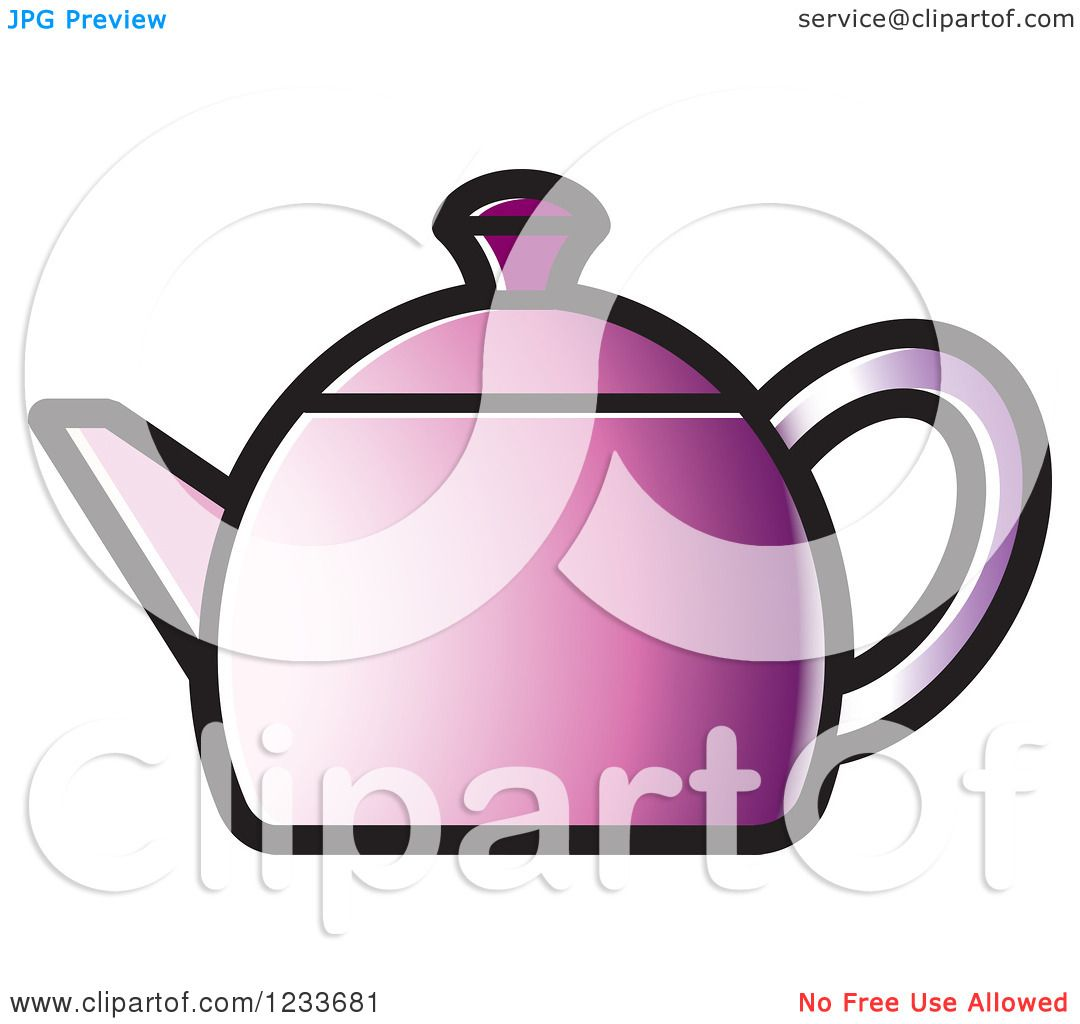 Clipart of a Purple Tea Pot - Royalty Free Vector ...