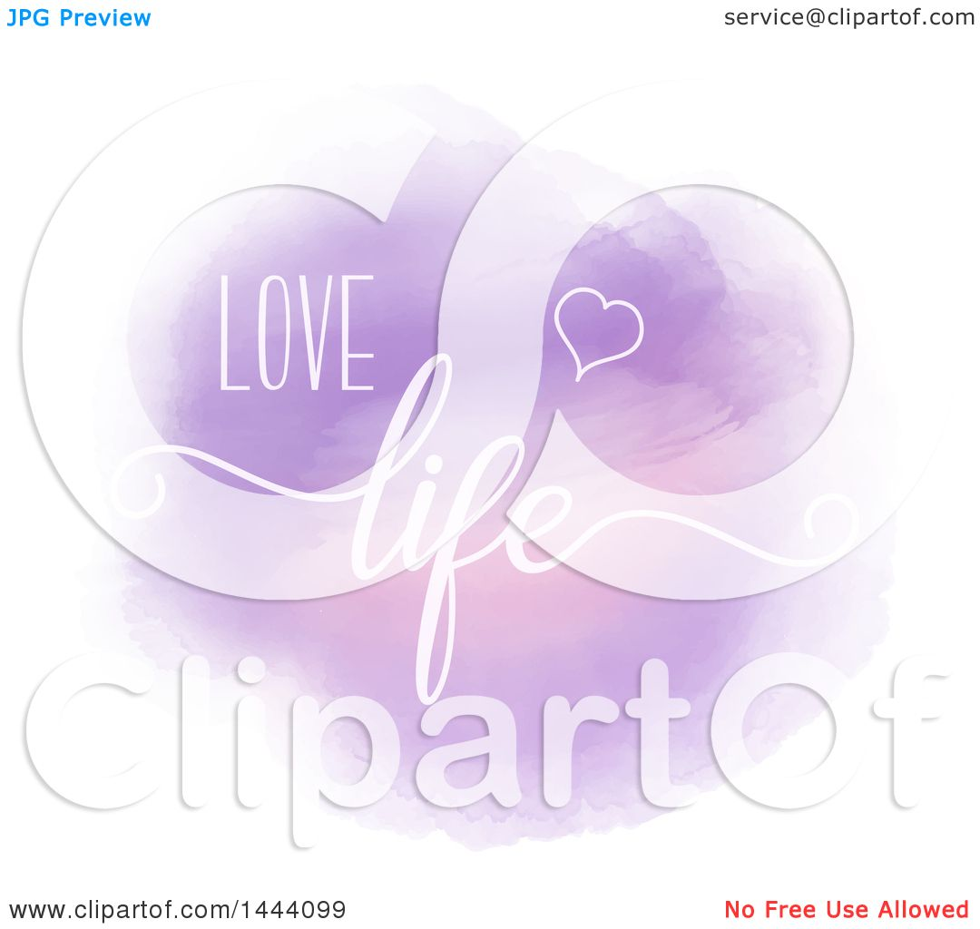Clipart of a Purple Watercolor Circle with Love Life Text - Royalty Free  Vector Illustration by KJ Pargeter