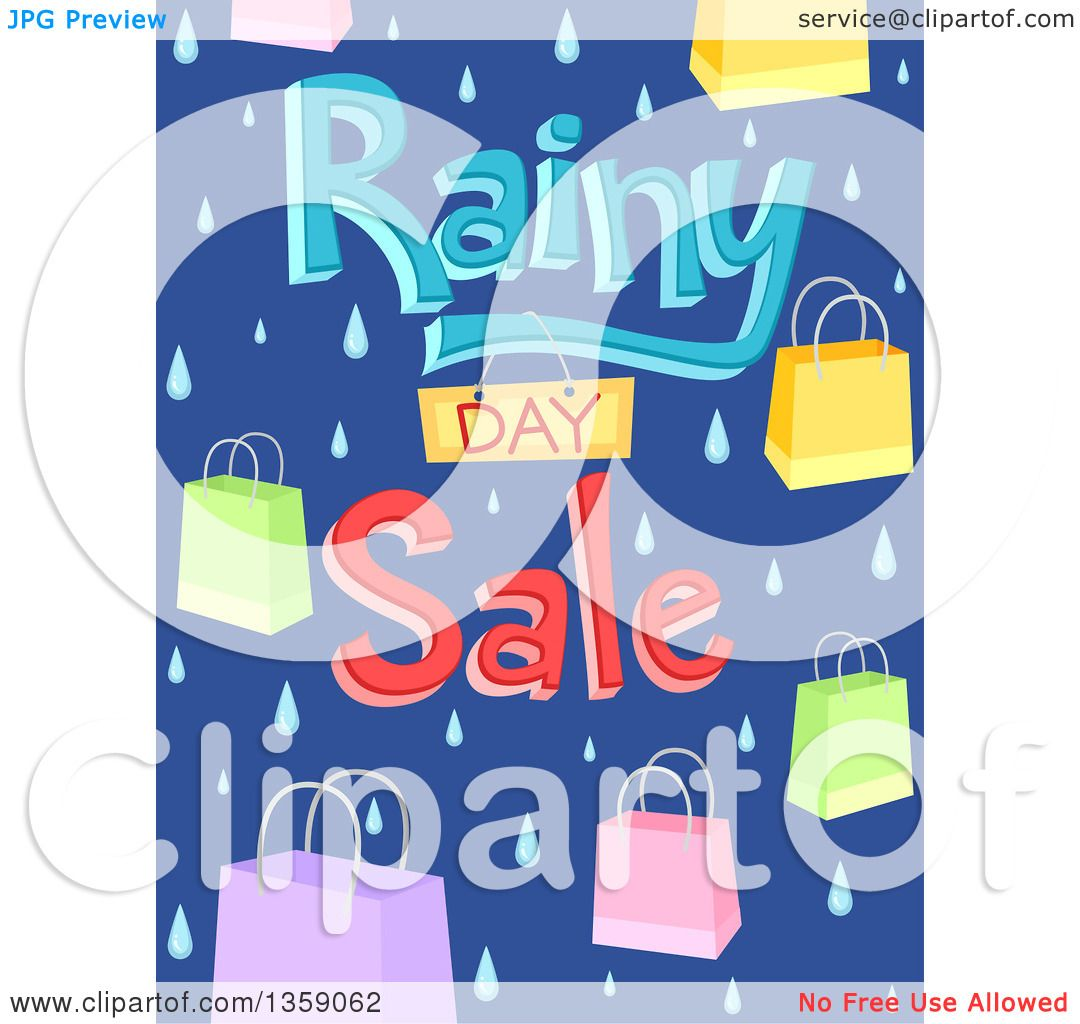 Clipart of a Rainy Day Sale Design with Shopping Bags and