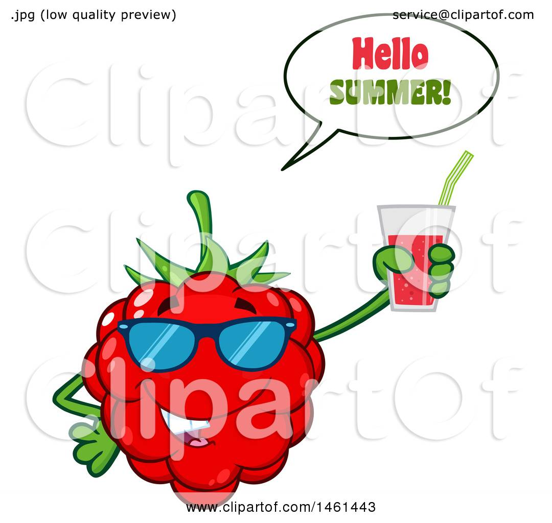 Clipart Of A Raspberry Mascot Character Wearing Sunglasses, Saying Hello  Summer And Holding A Glass Of Juice   Royalty Free Vector Illustration By  Hit Toon