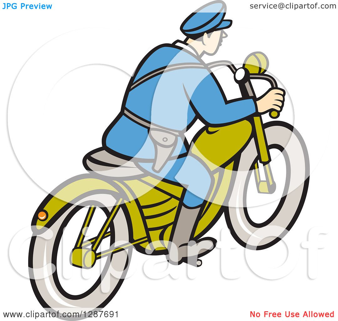 Clipart of a Rear Side View of a Cartoon Highway Patrol Police Man ...