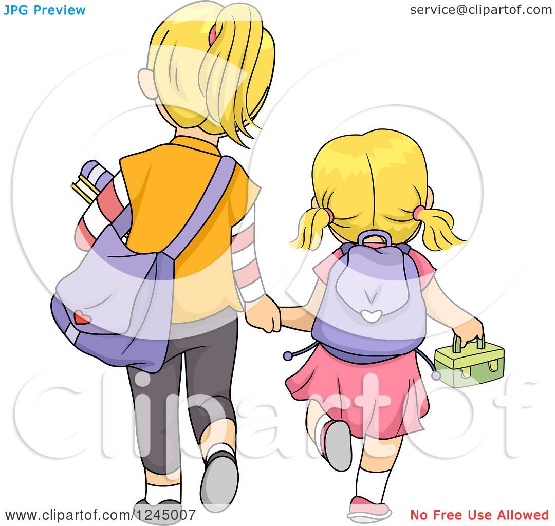 Walking In Love Clip Art: Clipart Of A Rear View Of Blond Sisters Walking To School