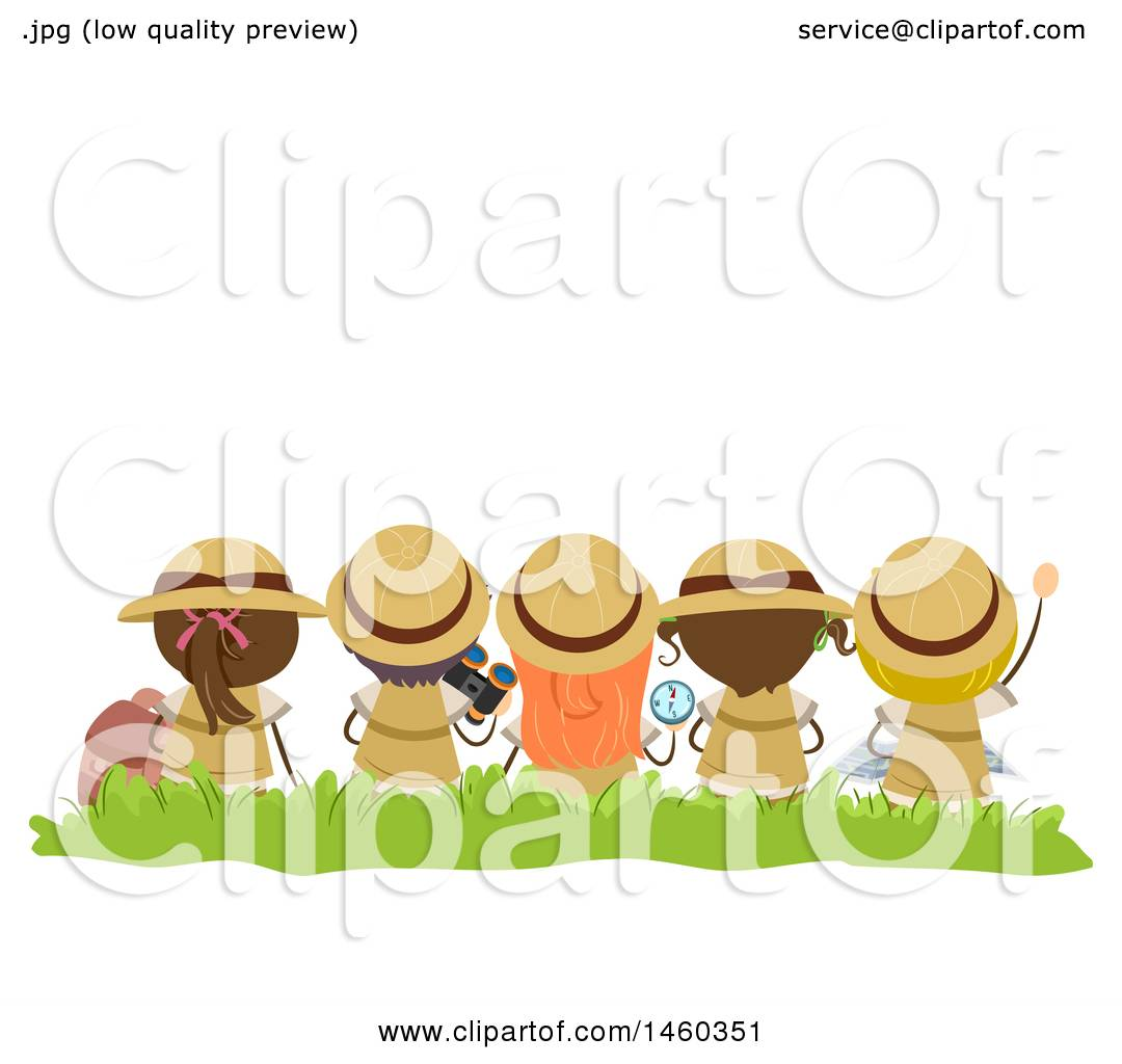 a8a33de71d Clipart of a Rear View of Sitting Explorer Children - Royalty Free Vector  Illustration by BNP