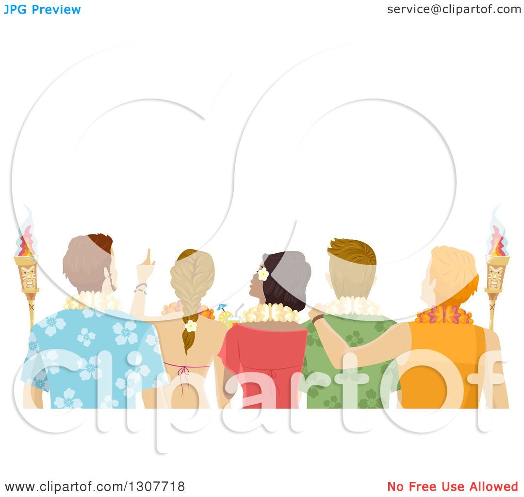 Clipart of a Rear View of Young Adults Wearing Hawaiian Leis and ...