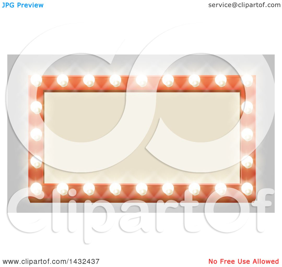 Clipart Of A Rectangular Retro Marquee Theater Sign With Light Bulbs On Gray